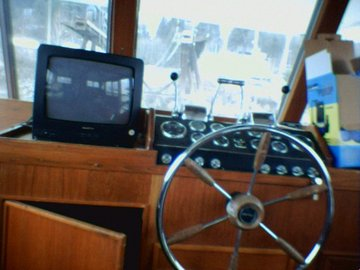 Looking out at the front of the boat